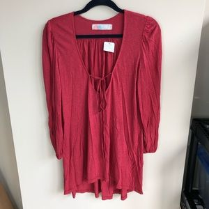 Free people beach red long sleeve tunic top size S
